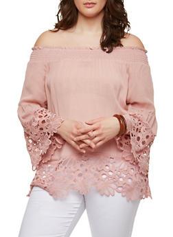 Plus Size Crochet Trim Peasant Top - 1803074015079