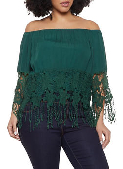 Plus Size Crochet Fringe Trim Off the Shoulder Top - 1803074015441