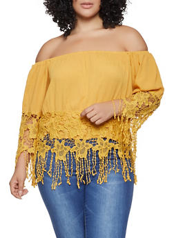 Plus Size Crochet Fringe Trim Off the Shoulder Top - 1803074015441