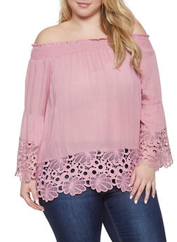 Plus Size Crochet Trim Off the Shoulder Top - 1803074015442