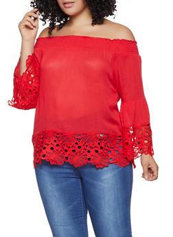 c350dff5c04b1 Plus Size Crochet Trim Off the Shoulder Top - 1803074015442