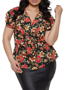 Plus Size Floral Polka Dot Tie Front Top - 1803074015447