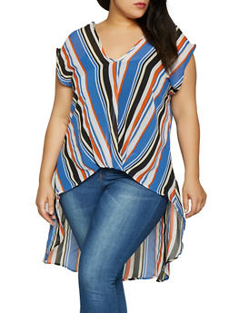 Plus Size Twist Front Striped High Low Top - 1803074015513
