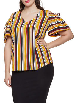 Plus Size Striped Cold Shoulder Top - 1803074015515