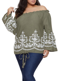 Plus Size Off the Shoulder Embroidered Hem Top - 1803074015530