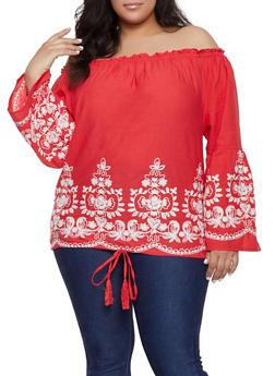 Plus Size Off the Shoulder Embroidered Hem Top - 1803074015530