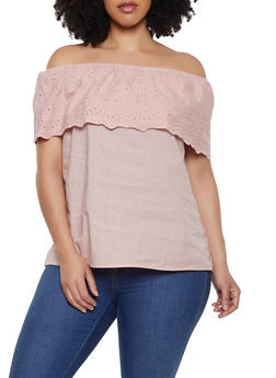 Plus Size Eyelet Ruffle Off the Shoulder Top - 1803074015531