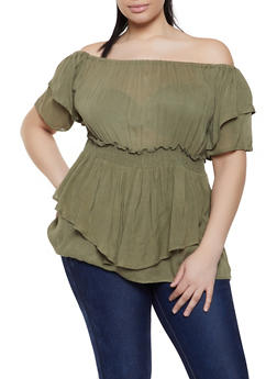 Plus Size Off the Shoulder Smocked Waist Top - 1803074015533