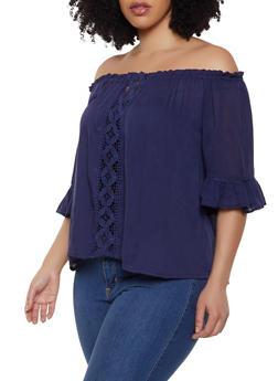 Plus Size Crochet Gauze Knit Off the Shoulder Top - 1803074015534