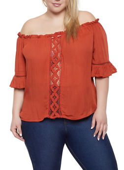Plus Size Crochet Gauze Knit Off the Shoulder Top - 1803074015534