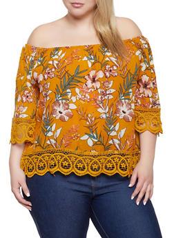 Plus Size Floral Off the Shoulder Top | 1803074015536 - 1803074015536