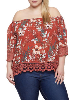 Plus Size Floral Off the Shoulder Top | 1803074015536 - 1803074015536