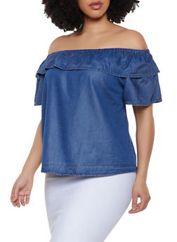 Plus Size Ruffled Off the Shoulder Chambray Top - 1803074015540