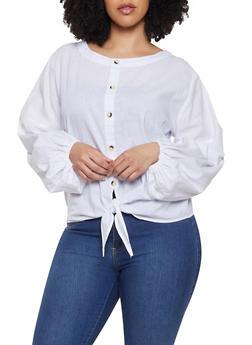 Plus Size Button Detail Tie Front Top - 1803074015541