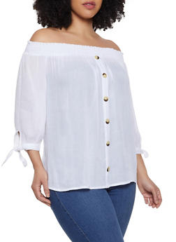Plus Size Gauze Knit Off the Shoulder Top | 1803074015542 - 1803074015542