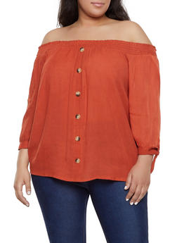 Plus Size Gauze Knit Off the Shoulder Top | 1803074015542 - 1803074015542