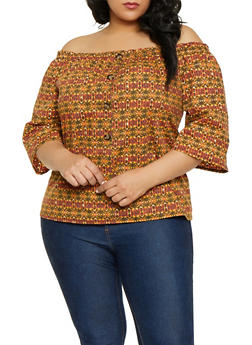 Plus Size Printed Off the Shoulder Button Detail Top - 1803074015549