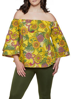 Plus Size Printed Off the Shoulder Tiered Sleeve Top - 1803074015551