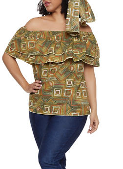 Plus Size African Print Off the Shoulder Top with Head Wrap - 1803074015553