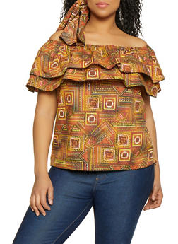 7d023f51ed86b0 Plus Size African Print Off the Shoulder Top with Head Wrap - 1803074015553