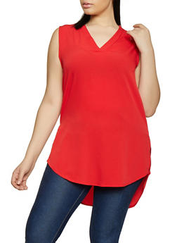 Plus Size Sleeveless High Low Tunic - 1803074015555