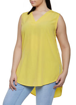 Plus Size Sleeveless High Low Tunic - 1803074015555