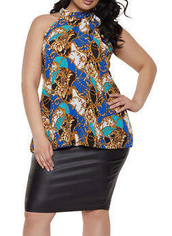 Plus Size Printed Tie Shoulder Blouse - 1803074015671