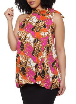 Plus Size Printed Tie Shoulder Blouse - 1803074015671