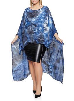 Plus Size Oversized High Low Tie Dye Top - 1803074015974