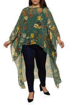 Plus Size High Low Chiffon Floral Top - 1803074015975