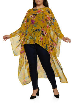 Plus Size High Low Chiffon Floral Top - 1803074015975