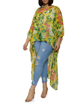 Plus Size Tropical Print High Low Top - 1803074015976