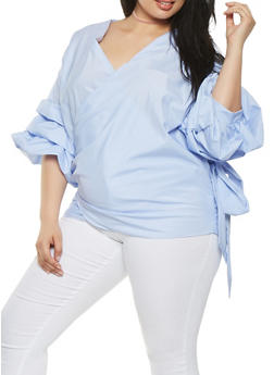 Plus Size Striped Wrap Top - 1803074280366