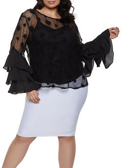 Plus Size Polka Dot Tiered Sleeve Fishnet Top - Black - Size 3X - 1803074280481