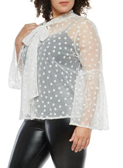 Plus Size Velvet Polka Dots Mesh Top - 1803074280705