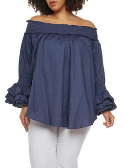 Plus Size Off the Shoulder Chambray Top - 1803074281111