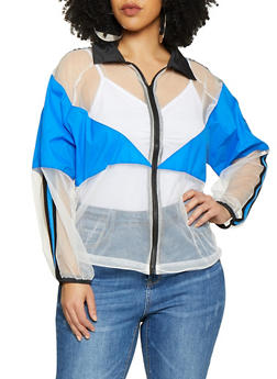 Plus Size Mesh Checkered Tape Windbreaker - 1803074281187