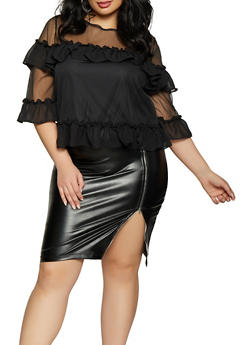 Plus Size Ruffled Mesh Top - 1803074281500
