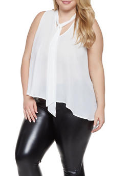 Plus Size Sleeveless High Low Blouse - 1803074281613
