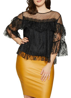 Plus Size Printed Mesh Top - 1803074281615
