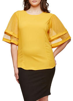 Plus Size Tiered Mesh Sleeve Top - 1803074281743