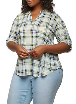 Plus Size Plaid Top - 1803074285248