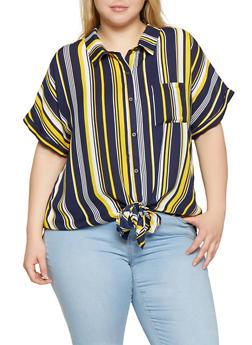 Plus Size Striped Tie Front Shirt | 1803074285321 - 1803074285321