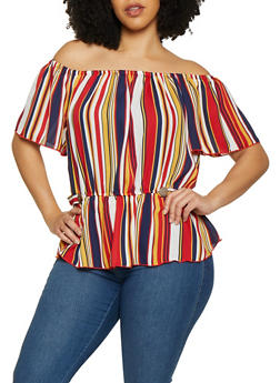 Plus Size Striped Off the Shoulder Button Tab Top - 1803074285322