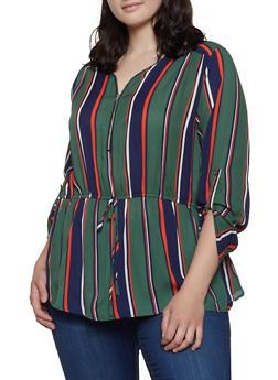 Plus Size Half Zip Striped Top - 1803074285323