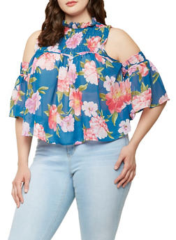 Plus Size Sheer Floral Cold Shoulder Top - 1803074287120