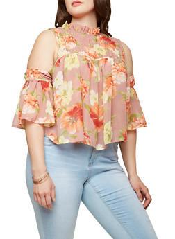 Plus Size Sheer Floral Cold Shoulder Top - 1803074287120