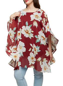 Plus Size Floral Wire Mesh Sleeve Tunic Top - 1803074288027