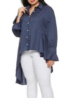 Plus Size Button Front High Low Shirt - 1803074289201