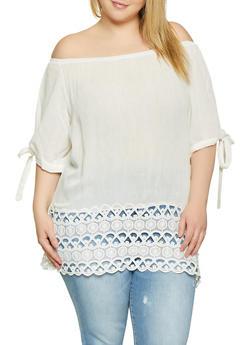 Plus Size Crochet Hem Off the Shoulder Top - 1803074730025